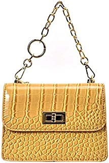 SODIAL Crocodile Crossbody Ms. Chain Tote Messenger Bag Stone Pu Leather Shoulder Bag Yellow