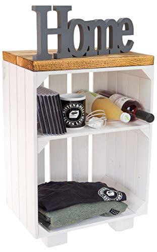 Mesita de noche, color blanco/natural/flameado, dimensiones aprox. 30 x 40 x 55 cm, estante para botellas, botellero, caja de manzana/caja de vino (blanco con tablones flameados)