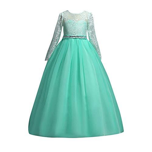 Riou Weihnachtskleid Mädchen Prinzessin Spitzenkleid Lang Weihnachten Kinder Baby Tutu Mini Ballkleider Abendkleid Elegant für Hochzeit Party Outfits Kleidung (170, Grün)