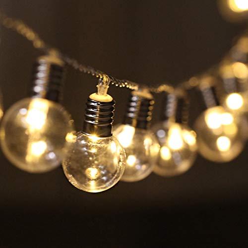 LED Cadena de Bombillas Transparente Decorativas, [5M, 40 LEDs] Luces de Cuerda Colgante a Pilas Vintage Iluminación Exterior/Interior para Decoración de Patio, Pérgola, Mirador, Porche (Luz cálida)