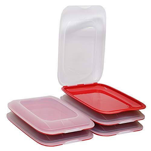ENGELLAND - Hochwertige stapelbare Aufschnitt-Boxen, Frischhaltedose für Aufschnitt. Wurst Behälter. Perfekte Ordnung im Kühlschrank, 5 Stück Farbe Rot, Maße 25 x 17 x 3.3 cm