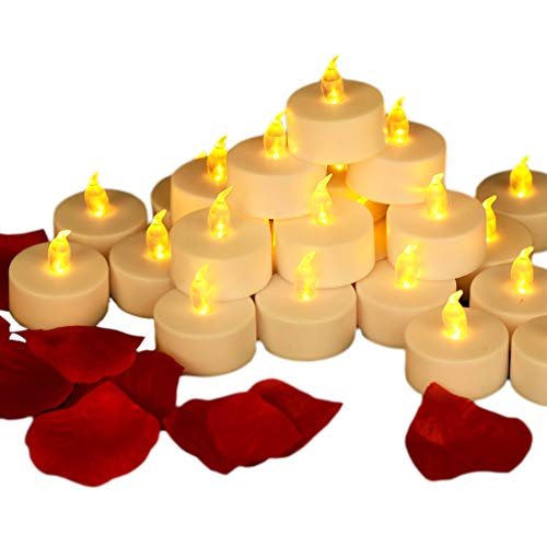 Tea Lights, Battery Operated LED Flameless Candles, Realistic Bright Flickering Yellow Electric Tealights, Ideal for Christmas Decorations, Wedding Party, Home Decor (24 Bulk Pack)