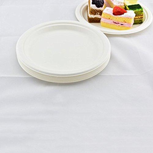 UEETEK 50 pièces 9 pouces Plaques compostables jetables Plateau de canne à sucre Plats naturels biodégradables pour banquets Fête de mariage Fournitures pour église