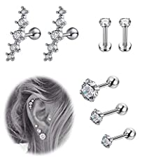 Comes with 1 Pair CZ Ear Climber Piercing, 1 Pair CZ Labret Piercing and 3 PCS Barbell Ear Piercing, 3 Kinds are Available, More Choices for Daily Wearing. Made of Quality 316L Stainless Steel, Safe and Durable, Allergy Free and Anti-rust. AAA+ CZ In...