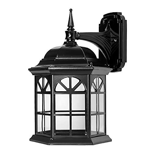 YBright Black Glass Coach Lantern Jardín al aire libre Lámpara decorativa de la lámpara impermeable de la pared Montado en la pared Luz de la luz de la luz de la iluminación para el patio fuera de las