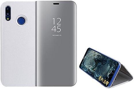Custodia® Espejo Chapado Transparente View Stand Función Flip Funda para Xiaomi Mi A2 Lite (Plata)