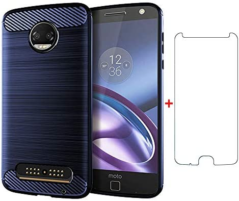 Phone Case for Motorola Moto Z2 with Tempered Glass Screen Protector Cover and Silicone Slim product image