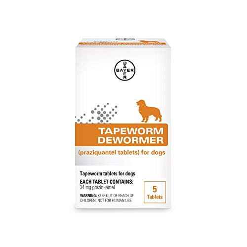 Bayer Tapeworm Dewormer (praziquantel tablets) for Dogs, 5-Count Praziquantel Tablets for Dogs and Puppies 4 Weeks and Older
