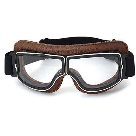 Vintage Motorradbrillen Schutzbrille Für Augenschutz Braun Transparent Brillenglas Auto