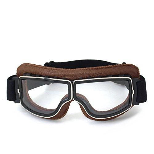Vintage Motorradbrillen Schutzbrille für Augenschutz,braun/transparent Brillenglas