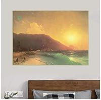 IvanAivazovsky《海の景色》キャンバスアート油絵アートワークポスター写真壁の装飾家のインテリアリビングルームの装飾-70x70cmフレームなし