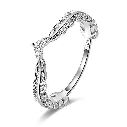 Ginger Lyne Collection V Shape Leaf Enhancer Band Sterling Silver Anniversary Wedding Ring Size 7