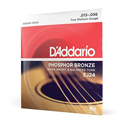 D'Addario EJ24 Cordes en bronze phosphoreux pour guitare acoustique Moyen 13-56