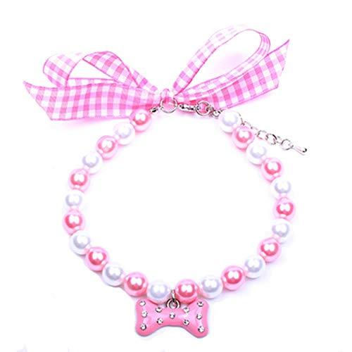Parels Halsband Kraag Mooi Bot Charm Voor Honden Katten Hondensieraden Accessoires Voor Vrouwelijke Chihuahua Yorkie, Roze, L