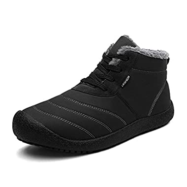 CIOR Men and Women Snow Boots Fur Lined Winter Outdoor Slip On Shoes Ankle Boots.black-37