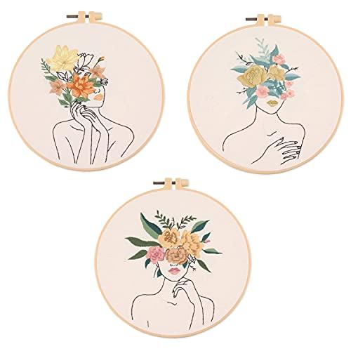 Kit de Bordado de 3 Juegos,Patrón de Planta Floral de Mujer,Kits de Punto de Cruz,Kits de Bordado Estampado con 3 aros de Bordado,Hilos de Colores