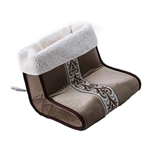 FITYLE Scaldapiedi Elettrico e massaggiatore con Telecomando per poggiapiedi riscaldante Portatile Unisex con Controller Portatile Fodera in Morbido Pile - Marrone