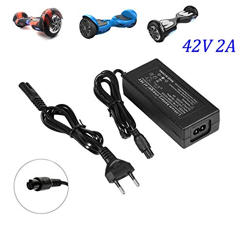 Fortspang Cargador de batería 42V 2A Adaptador de Corriente para Mini Smart Scooter eléctrico, Adaptador Universal de Cargador de batería para Swagtron, Segway, Sports Mod, Dirt Quad y Hoverboard