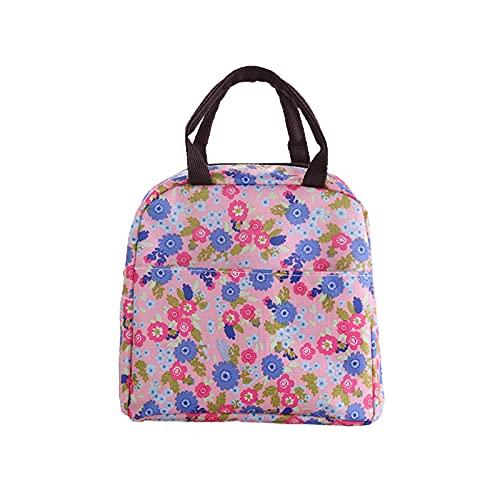 Sebasti Kühltasche Picknicktasche Lunch Bag Exquisite Muster Sandsack Camping Bag Isolierbox Cooling Box Einkaufskorb Faltbare Mahlzeit Vorbereitungsbox Groß 22 * 20 * 15CM Rosa Blumenmuster