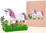 LIMAH® Pop Up 3D Geburtstagskarte für Kinder Happy Birthday. Geschnekkarte mit einem Einhorn für Mädchen. Einladungskarte zur Geburtstagsfeier/-party.
