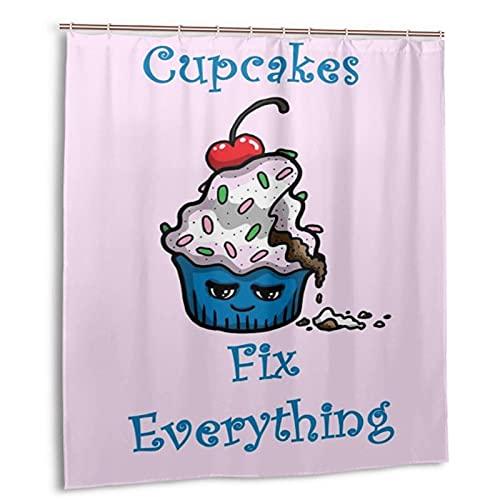 KENADVI Waschbar Bad Duschvorhang,Cupcakes Fix Everything,Mit Haken Wasserdicht Polyestergewebe Badezimmer Dekor 66X72 In