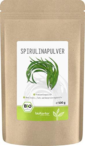 Spirulina Pulver BIO 500 g I 100% natürlich und rein - aus kontrolliert biologischem Anbau I laborgeprüft - ohne Zusatzstoffe I von bioKontor