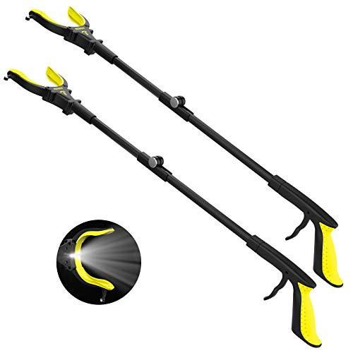 "2-Pack Extendable Grabber Reacher Tool with Light, 32"" Trash Picker Tools, Foldable Reacher Grabbers for Elderly, 90°Rotating Anti-Slip Jaw, Senior Living Aids(Yellow)"