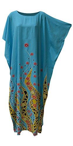 Cool Kaftans Coral Ozean Blume lila blauen Kaftan Kaftan weichen Long Beach Bademode Kleid Damen Frauen Robe Plus marokkanischen (Freesize Fits UK 8 to 34, Blue)