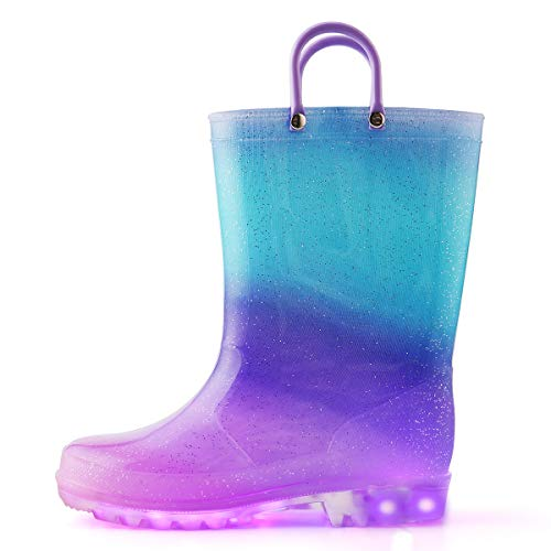K KomForme Toddler Light Up Rain Boots Patterns and Glitter Rain Boots for Girls Boys with Handles,Blue Purple Gradient,11