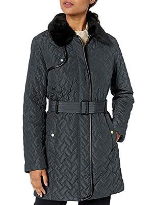 Cole Haan Women's Quilted Trench Coat, Emerald, S