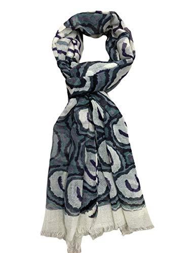 Elu Bufanda de invierno de lana merino suave y cálida con tacto de cachemira, unisex, para hombres y mujeres, Lana Verde Violeta Gris, Talla única