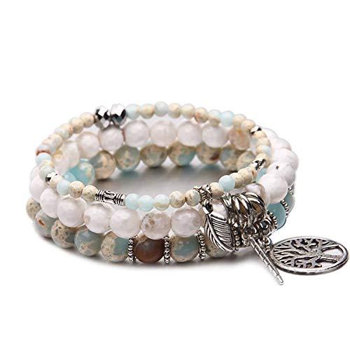 Tree of Life Turquoise Jasper & Tibetan Agate Gemstone Chakra Beaded Bracelet   Beach Charm Bracelet Set - Ocean Jewelry (Sky Blue)