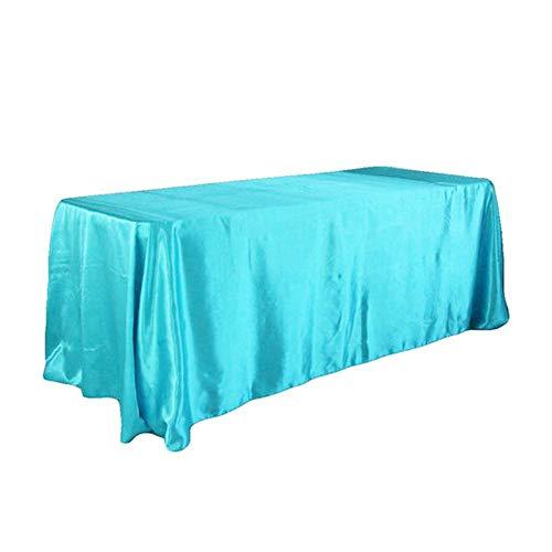 EDCV Tafelkleed Hotel Banket Tafelkleed voor Bruiloft Kerst Tafelkleed Woondecoratie 1 stks Satijn Tafelkleed Rechthoekig, Turquoise