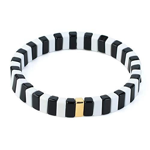 KANYEE Schwarz Weiß Strang Armband Colorblock Streifen Fliesen Perlen Elastisches Armband Eleganter Schmuck Geburtstagsgeschenk Unisex