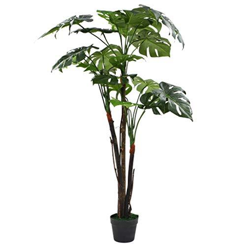 vidaXL Planta Monstera Artificial y Maceta 130cm Verde Decoración Hogar Flores