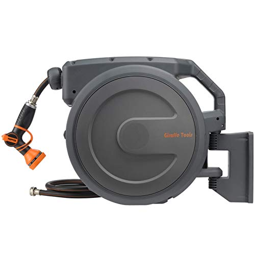 """Giraffe Retractable Garden Hose Reel 1/2"""" 100ft with 9 Pattern Hose Nozzle, Wall Mounted Water Hose Reel Automatic Rewind with Any Length Lock and 180° Swivel Bracket"""