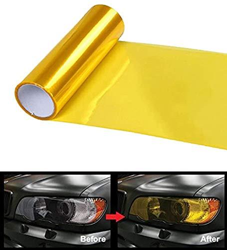 BTkviseQat Scheinwerfer-Folie Gelb 30 * 120cm, Wasserdicht Auto Scheinwerfer Folie Tönungsfolie Nebelscheinwerfer