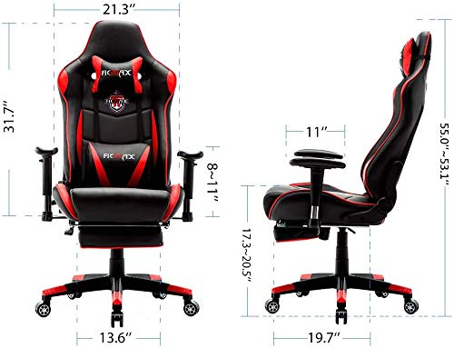 Ficmax Massage Gaming Chair Reclining Racing Home Office Chair High Back Gamer Chair with Footrest Memory Foam Gaming Computer Chair Gaming Chair with Headrest and Lumbar Support