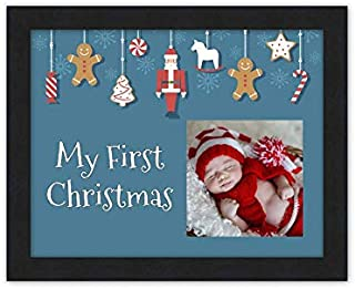 Baby's First Christmas Frame (Blue) Black Wood Frame with...