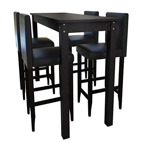 vidaXL Jeu de 1 Table de Bar et 4 Tabourets Noir Meubles Mobilier de Cuisine