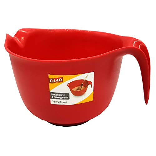 Glad Mixing Bowl with Handle – 3 Quart | Heavy Duty Plastic with Pour Spout | Non-Slip Bottom, Dishwasher Safe, Red