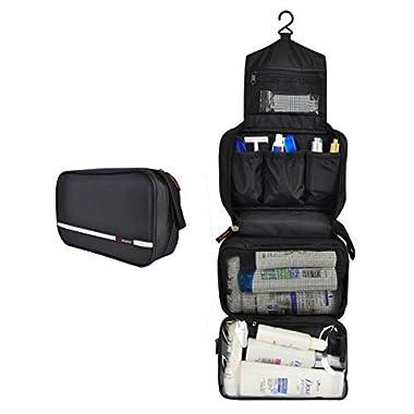 Mowham Toiletry Hygiene Bag Medium Hanging Cosmetic Organizer Foldable Waterproof Travel Kit Bathroom Storage for Boys Men/Women balck