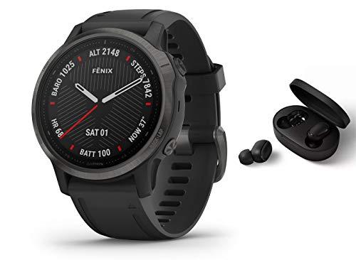 Garmin Fenix 6S Pro Saphir/Sapphire - GPS Multisportuhr - schwarz inkl. Bluetooth Headset