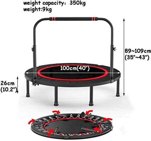 Kleine trampoline 40/48 Inch Sporten Fitness Trampoline Trampoline met verstelbare leuning, for binnen en Tuin/Gym/Fitness Trampoline, Gewicht Capaciteit: 300kg kinderen trampoline (Size : A:40)