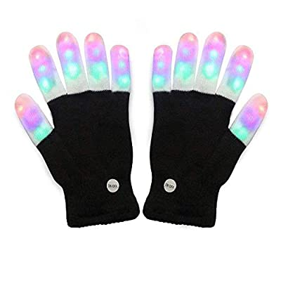 Amazer Light Gloves Finger Lights Up Colorful Flashing Light Gloves for Christmas Xmas Dance Thanksgiving Day Toys Gifts for Birthday Party with More Fun- Black from Amazer