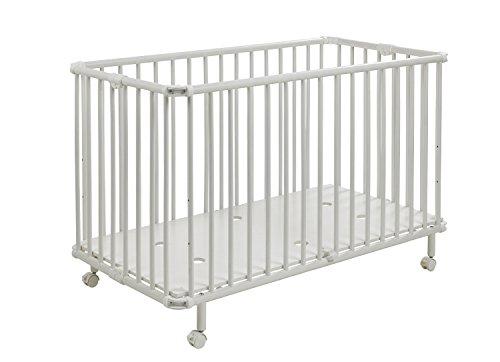 Geuther - Kinderbett Mayla, TÜV geprüft, klappbar, höhenverstellbar, Rollen mit Bremse, 60 x 120 cm, weiß