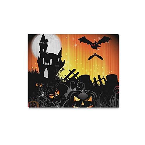 JOCHUAN Wandkunst Malerei Halloween Karte Design Kürbis Ghost House Drucke Auf Leinwand Das Bild Landschaft Bilder Öl Für Zuhause Moderne Dekoration Druck Dekor Für Wohnzimmer