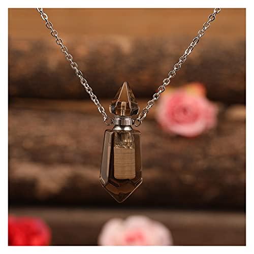 JIAQ Colgante de botella de perfume de prisma facetada con piedras naturales, collar con puntos hexagonales de corte de cristal difusor de aceite esencial (color de metal: cuarzo ahumado plate