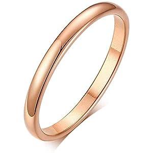 Rockyu タングステン リング 2mm 指輪 ピンキーリング レディース おしゃれ シンプル 高級感 ブランド 婚約 結婚 18号 プレゼント