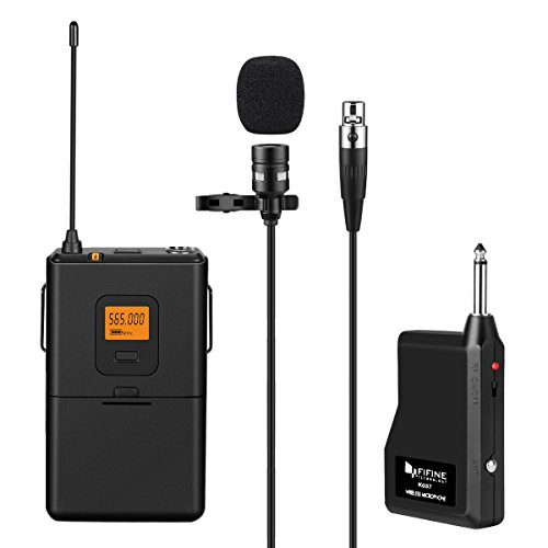 FIFINE 20-Channel UHF Wireless Lavalier Lapel Microphone System with Bodypack Transmitter, Mini XLR Female Lapel Mic and Portable Receiver, Quarter Inch Output. Perfect for Live Performance-K037